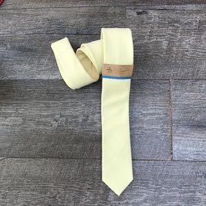 Original Penguin Yellow Cotton Blend Tie  NEW Slim